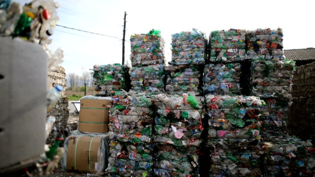 the forklift puts packaged plastic bottles on a pile.working at a recycling factory - recycling stock videos & royalty-free footage