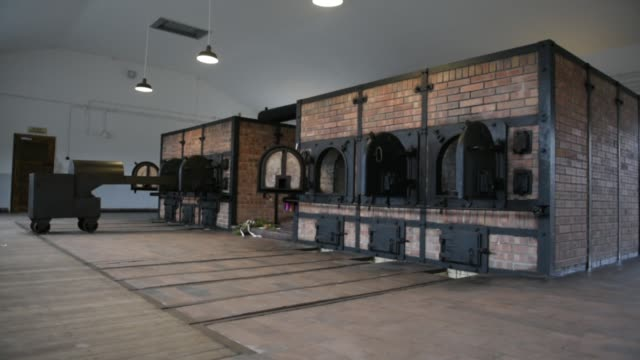 the former crematorium stands at the buchenwald concentration camp on january 26 2018 near weimar germany tomorrow january 27 is international... - campo di concentramento di buchenwald video stock e b–roll