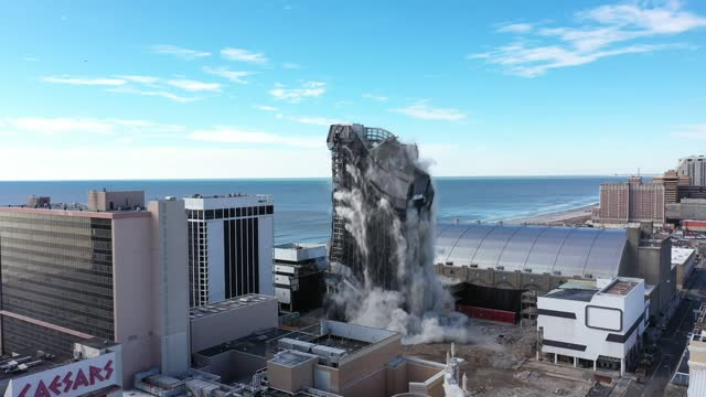 the former president's trump plaza hotel and casino tower operated for 30 years demolished on wednesday in atlantic city. the plaza opened in 1984... - casino stock videos & royalty-free footage