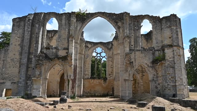 the former royal abbey of notre-dame du lys, now in ruins, is a cistercian abbey of nuns founded by blanche de castille and by saint louis in 1244.... - früherer stock-videos und b-roll-filmmaterial