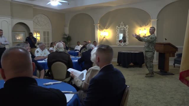the fort benning garrison command officially signed into effect a mutual aid agreement with several chattahoochee valley emergency service personnel... - fort benning video stock e b–roll