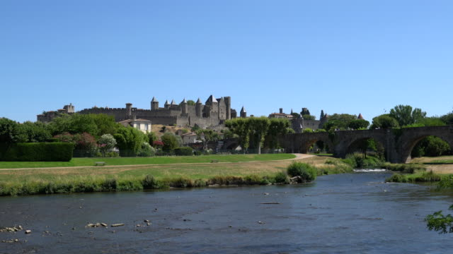 the fortified city of carcassonne on the river aude - aude stock videos & royalty-free footage