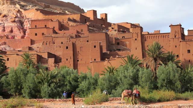 vídeos de stock, filmes e b-roll de the fortified town of aitâ benhaddou, nr quarzazate, high atlas mountains, morocco, africa - grupo pequeno de animais