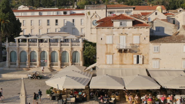 the fortress above the town, hvar, hvar island, dalmatia, croatia, europe - pavement cafe stock videos & royalty-free footage