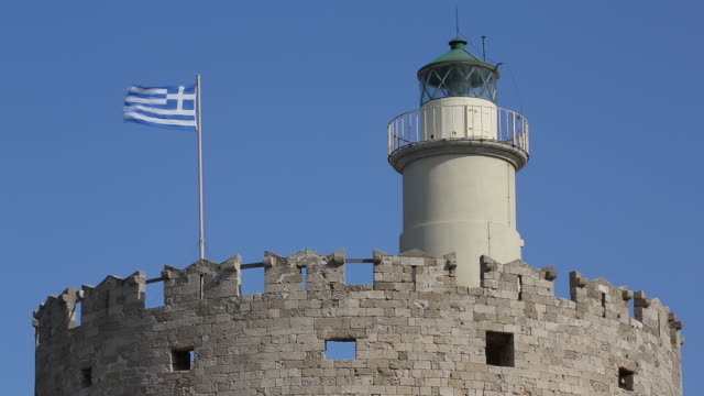 stockvideo's en b-roll-footage met the fortress of agios nikolaos in rhodes - rond de 15e eeuw
