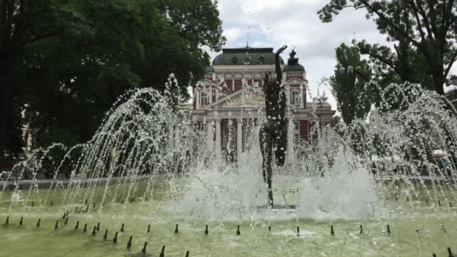 the fountain in front of the national theatre, sofia, bulgaria - bulgaria stock videos & royalty-free footage