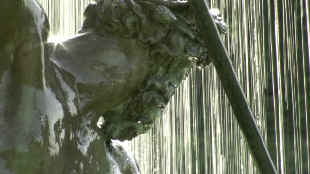 The Fountain of Neptune flows on a sunny day in Boboli Gardens, Florence. Available in HD.