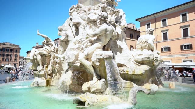 the four river fountain in piazza navona, rome - piazza navona stock videos & royalty-free footage