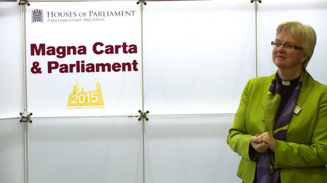 vídeos de stock e filmes b-roll de the four surviving original magna carta copies went on display together in parliament for one day thursday to launch an exhibition magna carta and... - magna carta documento histórico
