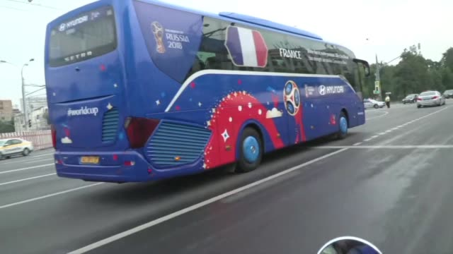 the france team bus makes its way to luzhniki stadium in moscow for the team's world cup final against croatia - luzhniki stadium stock videos & royalty-free footage