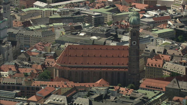 AERIAL The Frauenkirche Church in cityscape, Munich, Bavaria, Germany