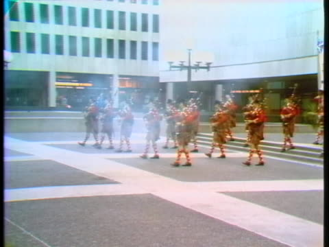 the frazier highlanders marching band performs in montreal. - music or celebrities or fashion or film industry or film premiere or youth culture or novelty item or vacations stock videos & royalty-free footage