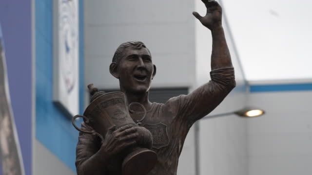 The Fred Keenor statue where tributes to Emiliano Sala have been left at the Cardiff City Stadium on January 25 2019 in Cardiff Wales Emiliano Sala...