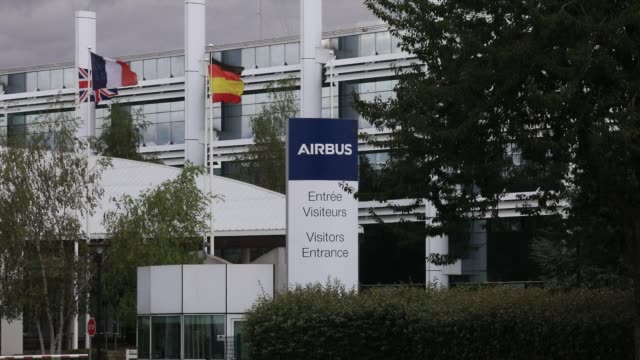 the french british spanish and german flags wave at the entrance of the airbus defence and space aeronautical industry site on july 2 2020 in... - downsizing stock videos & royalty-free footage