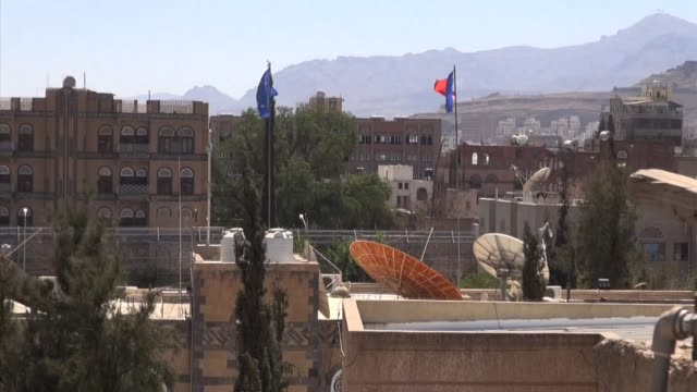 the french embassy in sanaa was operating normally on monday after a series of nighttime attacks near the chancellery and the ministry of defence in... - embassy stock videos and b-roll footage