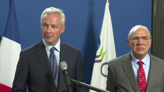 the french finance minister says france and the oecd aim to obtain an international solution on digital taxation at the oecd in the first half of 2020 - oeec video stock e b–roll