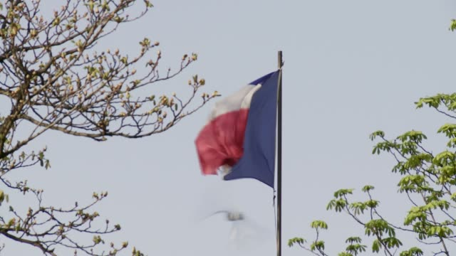 The French flag flaps on top of a tall flagpole. Available in HD.