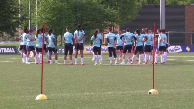 the french squad for this year's women's world cup made their official debut on monday, with the exception of those paris saint-germain players... - thursday stock videos & royalty-free footage