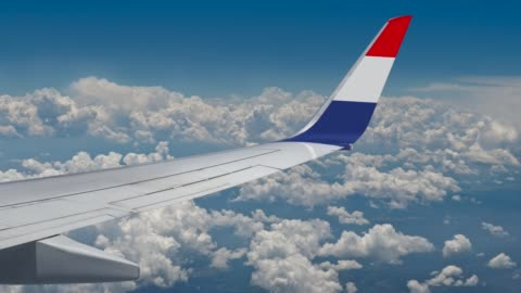 the french union flag on the wing of the plane - france stock videos & royalty-free footage