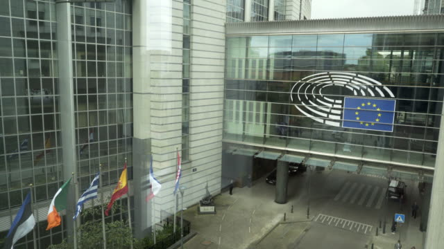 The front entrance of the European Parliament, Brussels, Belgium.