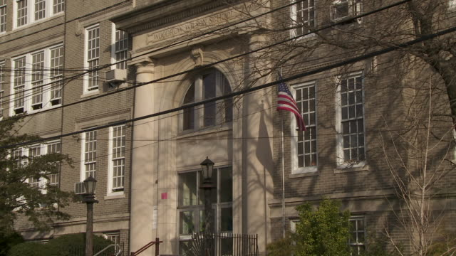 the front entrance way of the woodrow wilson elementary school in weehawken nj - elementary school stock videos and b-roll footage