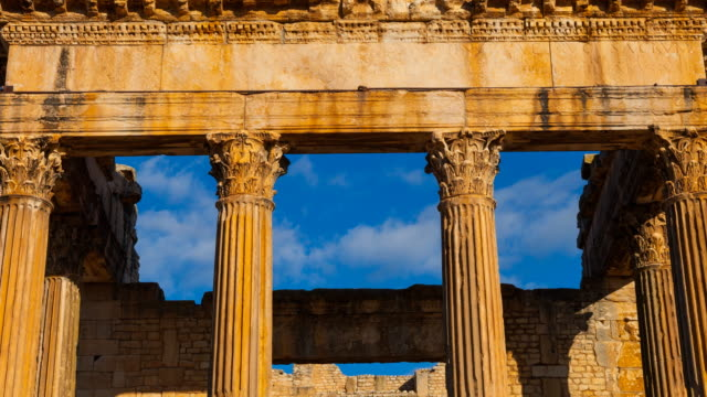 the front of the capitol in dougga city - architrav stock-videos und b-roll-filmmaterial