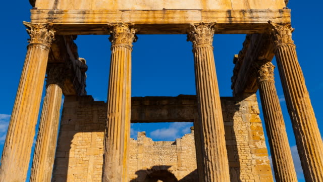 the front of the capitol in dougga city - korinthisch stock-videos und b-roll-filmmaterial