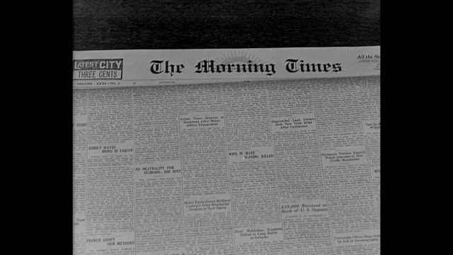 1932 the front page of the morning times - newspaper page stock videos and b-roll footage