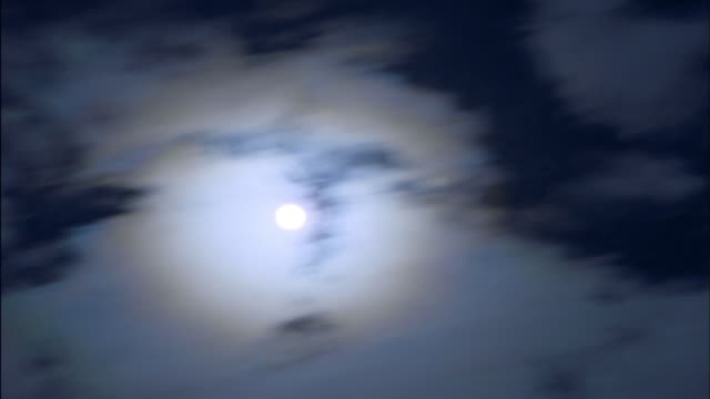the full moon shines bright behind wispy white clouds. - vollmond stock-videos und b-roll-filmmaterial