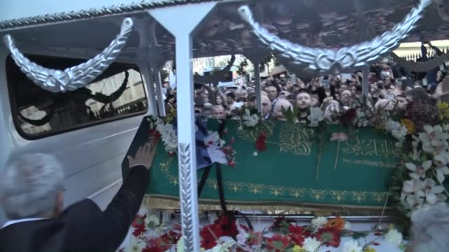 vídeos de stock, filmes e b-roll de the funeral ceremony of turkish author yasar kemal, who died at the age of 92 on 28th of february 2015, is held at tesvikiye mosque in istanbul,... - 50 59 years