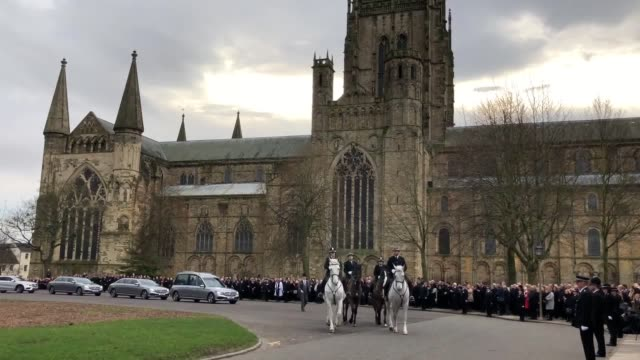 stockvideo's en b-roll-footage met the funeral cortege of ron hogg, the durham police crime and victims commissioner who died last month from motor neurone disease. the service took... - county durham engeland