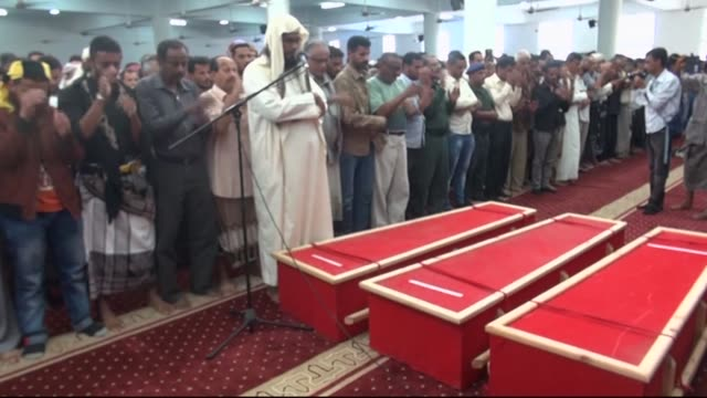 The funeral of Aden governor Jaafar Saad and six of his bodyguards killed Sunday in a car bomb claimed by the Islamic State group took place Tuesday...