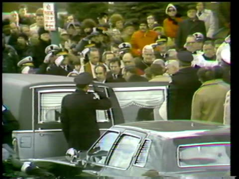 the funeral of chicago mayor richard j daley richard daley's casket going into hearse on december 20 1976 in chicago illinois - hearse stock videos & royalty-free footage