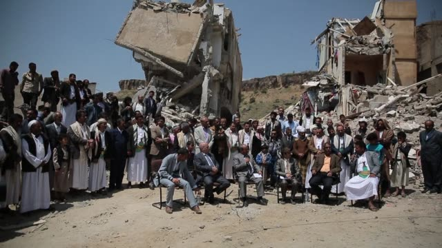 The funeral of victims of an air strike that toppled residential blocks in Yemen's capital Sanaa took place on Saturday shortly after a protest in...
