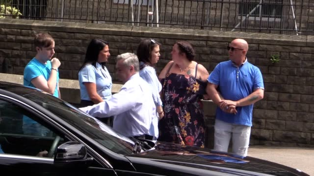 the funeral procession including olivia's mother charlotte campbell and stepfather paul hodgson arrives at the the parish church of st anne... - funeral procession stock videos & royalty-free footage