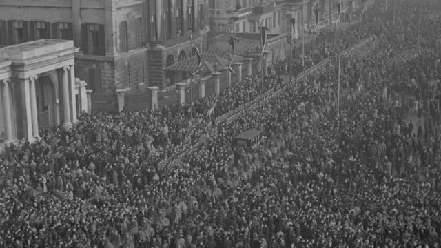 the funeral procession of king george v parts a massive crowd in london's hyde park. - british royalty stock videos & royalty-free footage