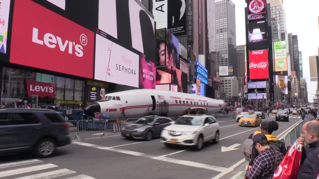 The fuselage of a TWA plane parked in Times Square before being brought to JFK airport on March 24 2019 in New York United States