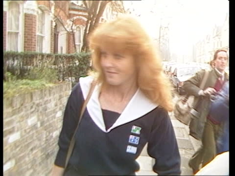 The Future ROYAL ENGAGEMENT The Future ITN LIB London Clapham MS Sarah Ferguson out of house towards along street surrounded by press TX 131082...