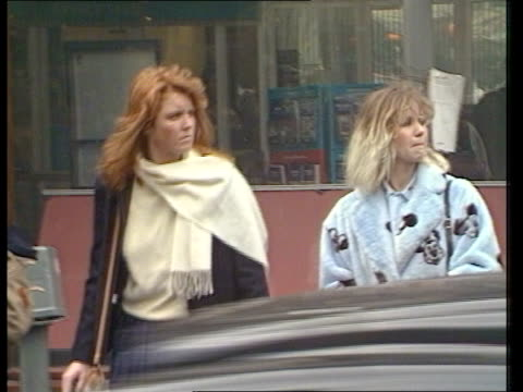 The Future ROYAL ENGAGEMENT The Future ITN LIB MS Sarah Ferguson walking along street RL with flatmate Caroline BeckwithSmith MS Sarah Caroline...