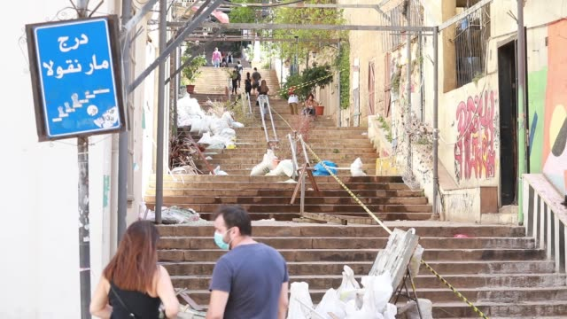 the gemayze stairs shown covered in rubbish bags following the beirut port explosion of august 4th 2020. the explosion at beirut's port last week... - last stock videos & royalty-free footage
