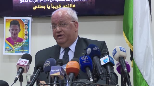 the general secretary for the palestine liberation organisation saeb erekat said saturday that the palestinian president had asked palestinian... - palestine liberation organisation stock videos & royalty-free footage