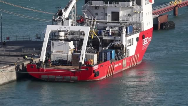 The Geo Ocean III specialist search vessel docked in Portland Dorset which has brought back the body recovered from the wreckage of the plane...