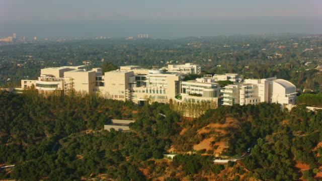 aerial the getty museum in brentwood, los angeles - brentwood los angeles stock videos & royalty-free footage