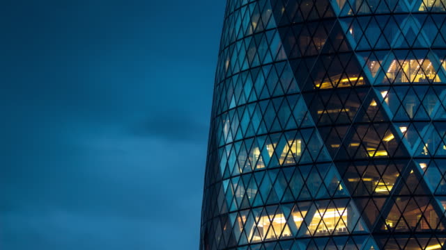 the gherkin at dusk - timelapse - architecture stock videos & royalty-free footage