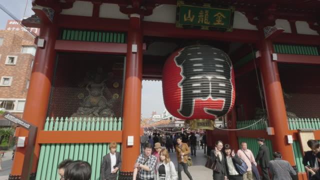 the Giant Japanese lantern at the Kaminarimon (Thunder Gate) that is an entrance gate of Senso-ji temple