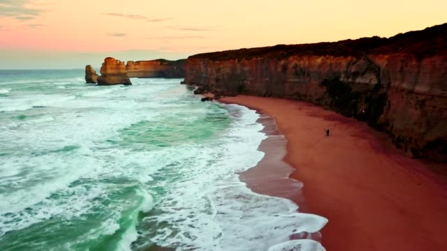 the gibson step beach in australia - great ocean road stock videos & royalty-free footage