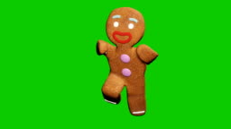 The gingerbread man is dancing a Christmas dance. The concept of the celebration. Looped animation in front of green screen.