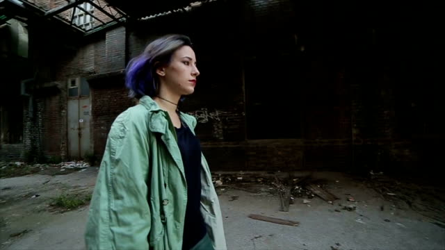 the girl is walking through the ghetto - homelessness stock videos & royalty-free footage