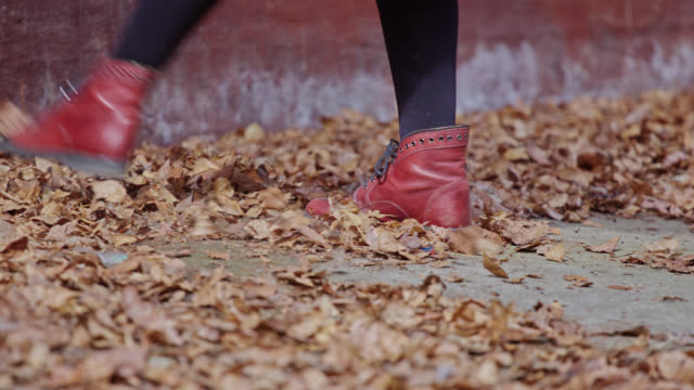the girl kicks the fallen leaves. - human limb stock videos & royalty-free footage