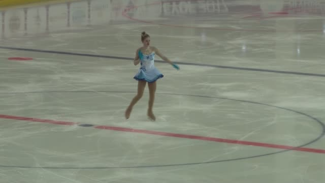 the girls' free skating competition is held at figure skating hall during the european youth olympic festival in erzurum turkey on february 15 2017 - figure skating stock videos & royalty-free footage